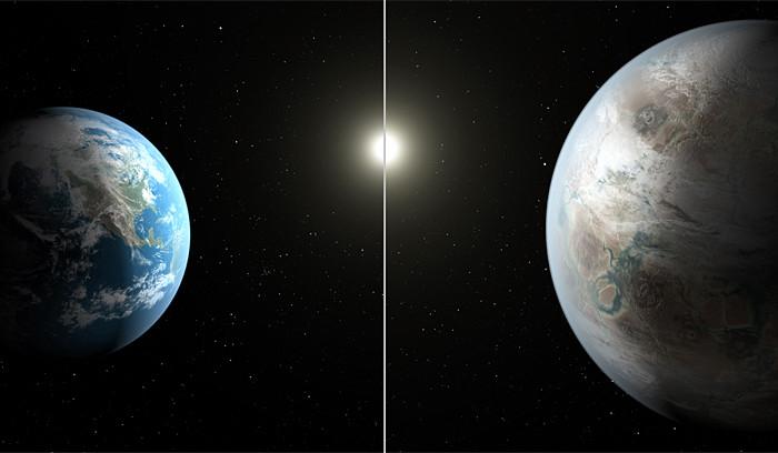 Сравнение размеров нашей планеты и новой планеты Kepler 452 космос, экзопланеты